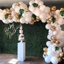 96 pc Ballon Arch Kit Weiß Gold Konfetti Metallic Luftballons Hochzeit Geburtstag Party Dekorationen Baby Shower Party Latex Balaos