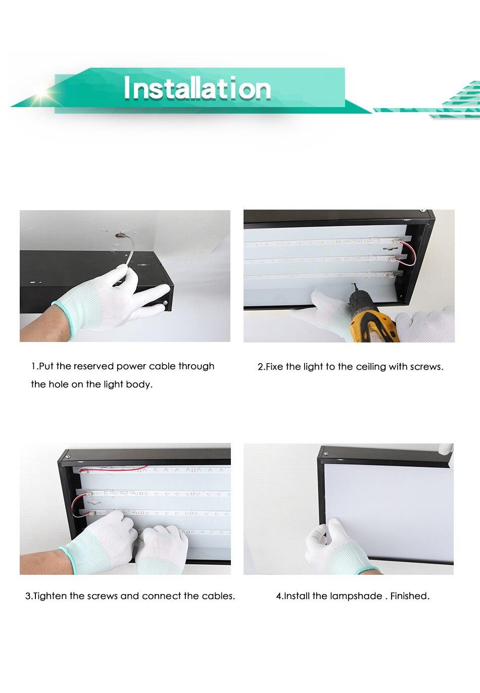 H054bc3dc18bc4e0194a15a853ee5f29d7 Modern LED Ceiling Light Lamp Lighting Fixture Rectangle Office Remote Bedroom Surface Mount Living Room Panel Control 110V 220V