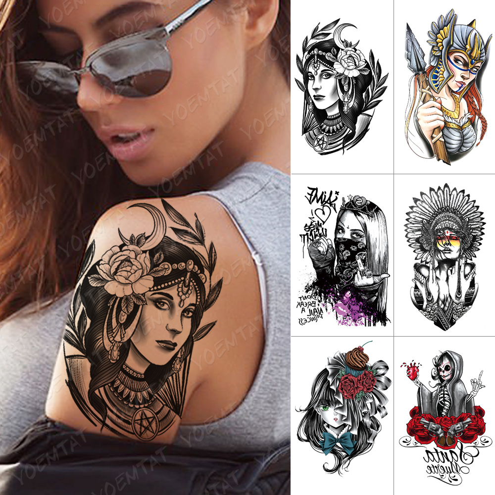 Waterproof Temporary Tattoo Sticker Gypsy Girl Moon Rose Flash Tattoos Old School Body Art Arm Water Transfer Fake Tattoo Women