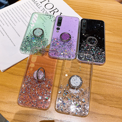 Luxury Ring Bracket Bling Glitter Silicone Phone Case For Xiaomi Mi 10 9 T 8 Lite Pro Redmi Note 9 8 7 Ultra-thin Sequins Cover