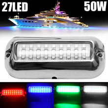 1x 27LED 50W 10-30 VDC 345LM 120 Beam Angle Waterproof Marine Boat Underwater Pontoon Transom Light White/Blue/Red/Green