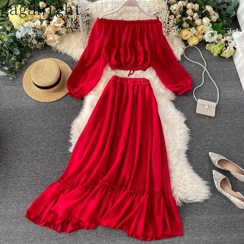 Gaganight Holidy Beach Women Two Pieces Set Long Sleeve Slash Neck Solid Long Skirt High Waist Elegant Ladies Suit 2 Pieces Sets