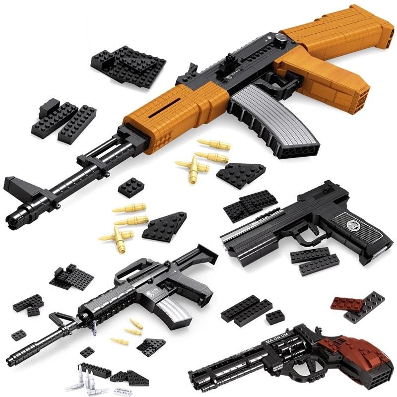 Пустынный Орел пистолет MK23 пистолет УЗИ пистолет-пулемет военные WW2 строительные блоки для техника городская полиция Swat, могут ли Игрушки для мальчиков