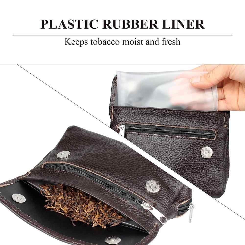 ท่อสูบบุหรี่กระเป๋ายาสูบกระเป๋ายาสูบไม้ท่อเก็บของแท้หนังท่อแบบพกพากระเป๋าสำหรับจัดเก็บ