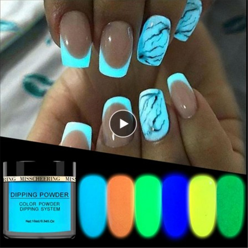 1pc Glow In Dark Pigment Nail Art Dust Decorations Glitter Nail Phosphorescent Powder Fluorescent Neon Phosphor Colorful Dipping