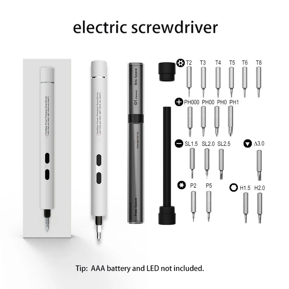 H054c3b891af54bc8ad7d36f8e2ff6f4et - 3V Electric Screwdriver Pen USB Screwdriver Drill Bit Cordless  Screwdriver Set 18 Drill Bits Laptop Cellphone Screwdrive Tool