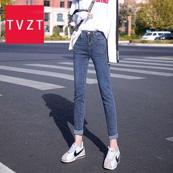 TVZT Fashion Denim Pencil Jeans Woman Elastic High Waist Plus Slim Elastic Plus Size Stretch Jeans Denim Blue Skinny Pencil Pant ligao men s jeans trendy leisure elastic slim pencil pants trousers male denim pant royal blue mens jeans vaqueros plus size
