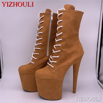 20 cm steel tube dancing shoes, yellow brown suede covered high heel thick soles boots, round toe banquet ankle boots image