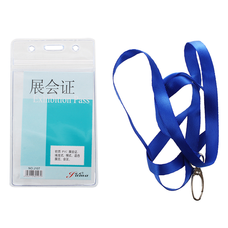 Vertical Clear Plastic ID Badge Card Holder W Neck Strap 2 Pcs