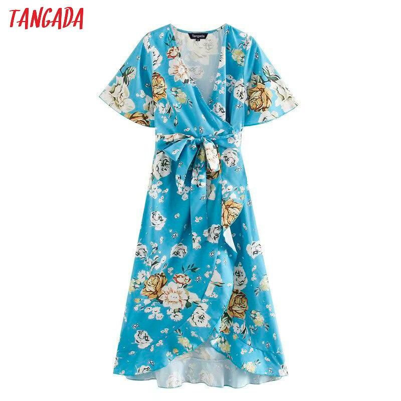 Tangada Fashion Women Blue Floral Print Dress 2020 Summer  V Neck Short Sleeve Ladies Midi Dress With Slash XN480