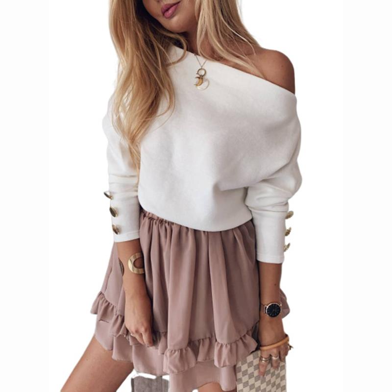Cotton Sweater Women Winter Sexy Loose One Shoulder Clothes Solid Pullover Jumper For Female Causal Autumn Women Sweater SJ4279X