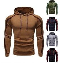 2019 Zipper Hooded Sweatshirt Men Spring Casual Flag Print Pullover Hoodies Sweatshirts Male Solid Streetwear Black