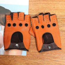 2019 Genuine Leather Women's Semi-Finger Gloves Anti-Slip Driving Breathable High Quality Real Deerskin Gloves Female DQ0132F high quality genuine leather men s semi finger gloves anti slip driving breathable fitness deerskin gloves male d0132 9m