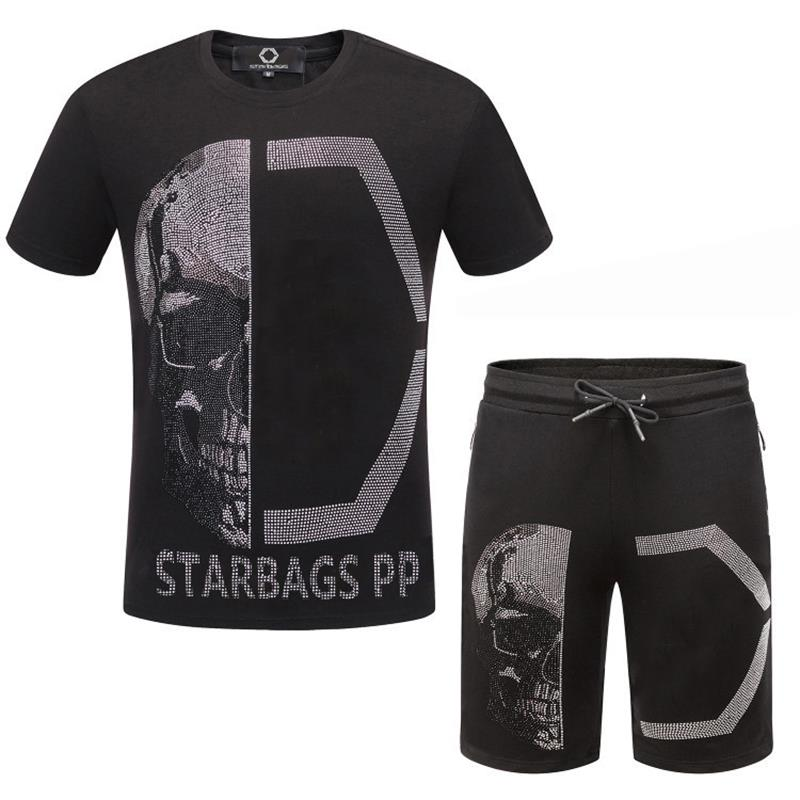 Starbags PP2020 Summer New Casual Men's Suit Diamond Personality Skull Cool Fit Short Sleeve T-shirt Short Pants Original Design