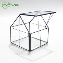 NCYP Modern Glass Terrarium Black Copper Tabletop Geometric Grid Pattern Floor Vase Home Decoration Accessories