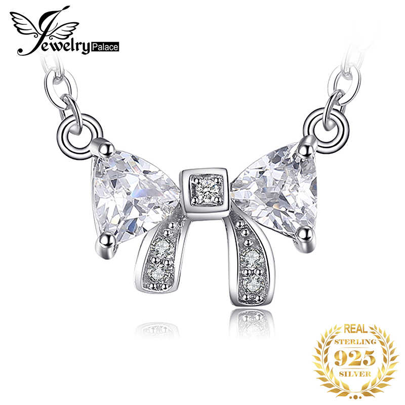 JewelryPalace Charming Bow 0.6ct Cubic Zirconia Anniversary Necklace For Girl Genuine 925 Sterling Silver Fashion Jewelry