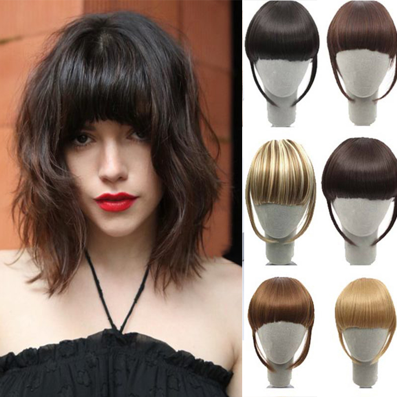 HOUYAN Women Black Brown Blonde Fake Fringe Clip In Bangs Hair Extensions With High Temperature Synthetic Fiber Accessories