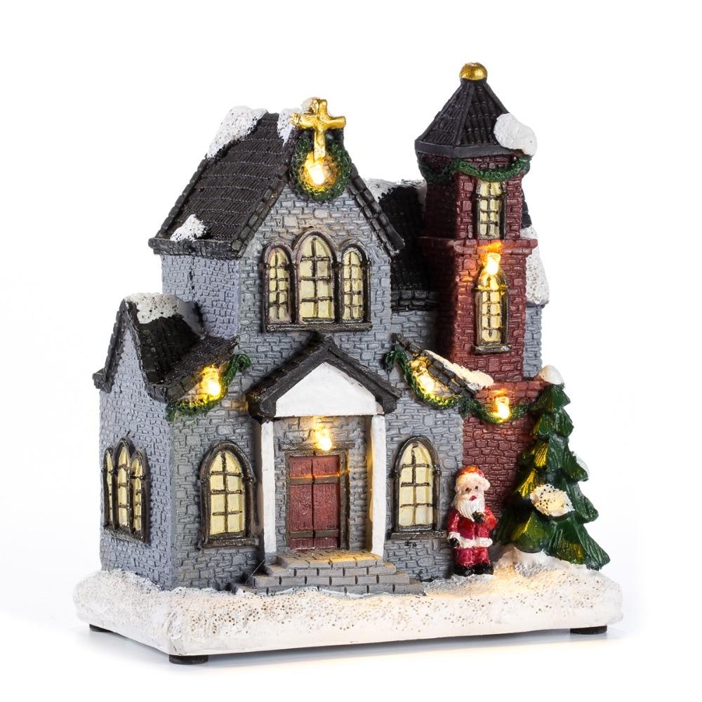 Смола Рождество сцена деревенских домов города с теплое белое светодиодное освещение праздничные подарки на Рождество, украшение для Новы...