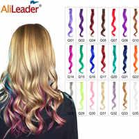 Alileader przedłużanie włosów 1 sztuk/partia klip w syntetyczne 30 kolory 20 Cal 50cm długości włosy typu body wave sztuk dla kobiet dziewczyn