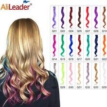 Extensões de cabelo alileader 1 peças/lote grampo em sintético 30 cores 20 Polegada 50cm longo corpo onda cabelo peças para meninas