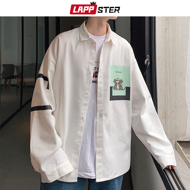 LAPPSTER Men Streetwear Funny Cat Print Shirt 2020 Mens Graphic Harajuku White Shirts Long Sleeve Shirts Oversized Korean Shirts