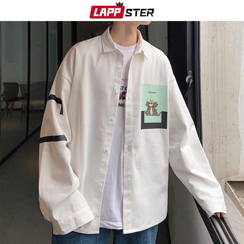 LAPPSTER Men Streetwear Funny Cat Print Shirt 2020 Mens Graphic Harajuku White Shirts Long Sleeve Shirts Oversized Korean Shirts