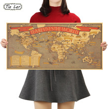Map of Tea Culture Tea Revives The World Kraft Paper Bar Poster Retro Poster Decorative Painting 72.5x35.5cm(China)