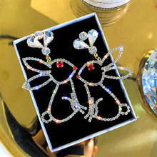 FYUAN Cute Rabbit Rhinestone Drop Earrings for Women Bijoux Water Drop Crystal  Dangle Earrings Jewelry Gifts стоимость