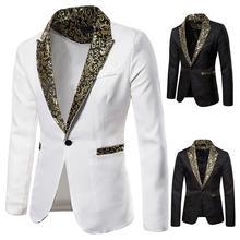 цена на Charm Men's Blazer Hombre Fit Slim Suit One Button Business Coat Jacket  Men Blazer