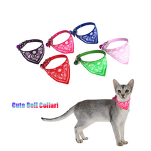 Cute Pet Dog Cats Neck Scarf Bandana Collar Neckerchief with Bell Kitten Little Puppies for Small Chihuahua