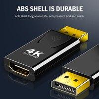 Adaptador de pantalla a HDMI 4K macho DP a HDMI hembra, convertidor de Audio de vídeo para PC, portátil, proyector, DisplayPort a HDMI