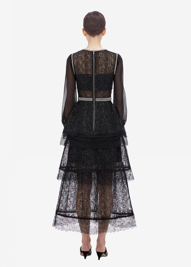 Kadın Giyim'ten Elbiseler'de 2019 Yeni gelmesi yüksek kaliteli siyah Boncuklu elbise'da  Grup 2