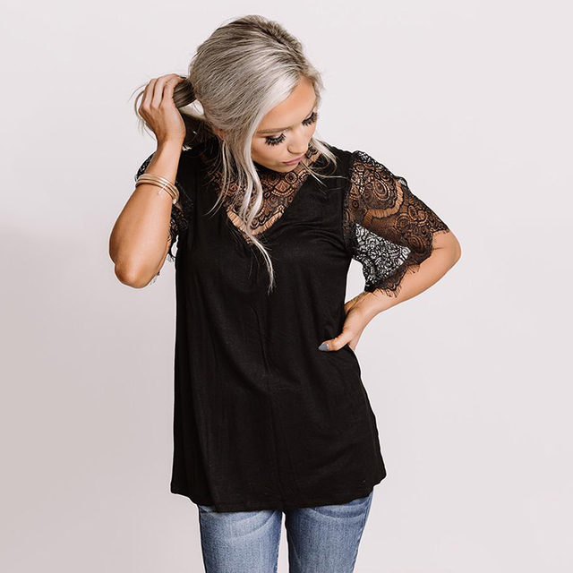 LIVA GIRL Casual Black Breaking News Lace Top Woman 2021 Summer Solid Short Sleeve Tops Female Sexy Hollow Out O-neck Clothes 4