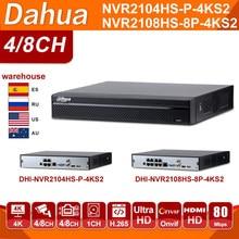 Original Dahua de vídeo en red Recoder NVR2104HS-P-4KS2 NVR2108HS-8P-4KS2 4CH 8CH NVR POE 4K H.265 POE sistema CCTV Kit de seguridad