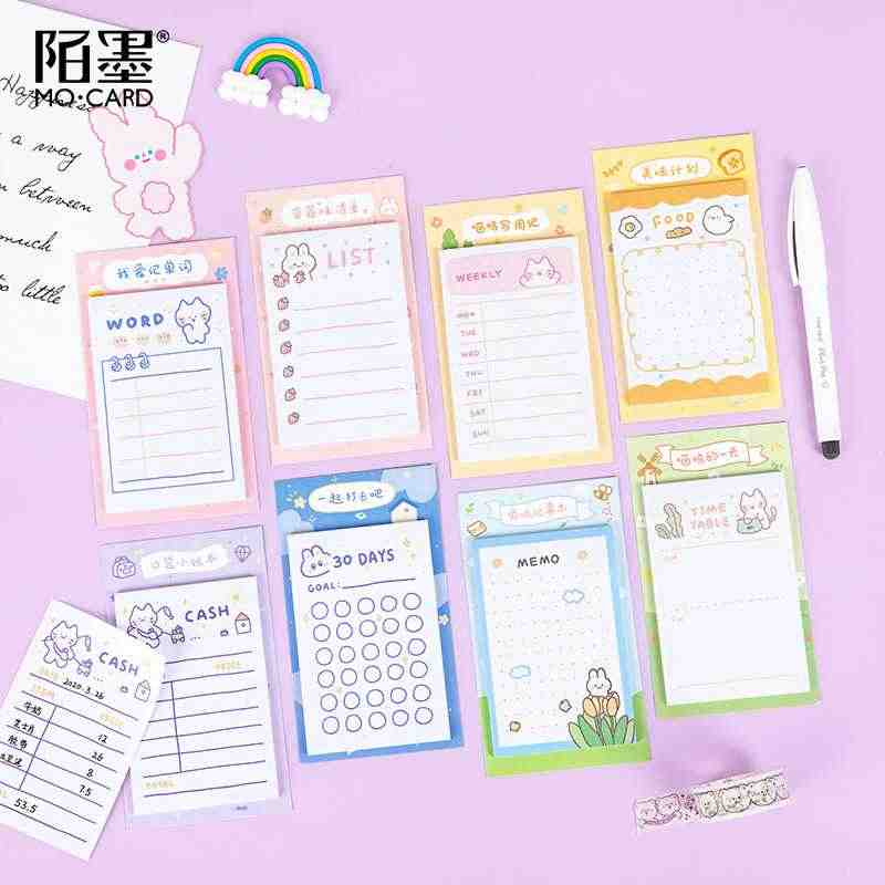30 Sheets/Pack Leuke Wekelijkse & Dagelijkse Schema Mini Memo Pad N Times Sticky Notes Bookmark School Office Supply escolar Papelaria