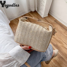 Fashion Straw Woven Small Bag For Women Leisure Splice Portable Handbags Shoulder Bag Summer Holiday Beach Crossbody Bag Female(China)