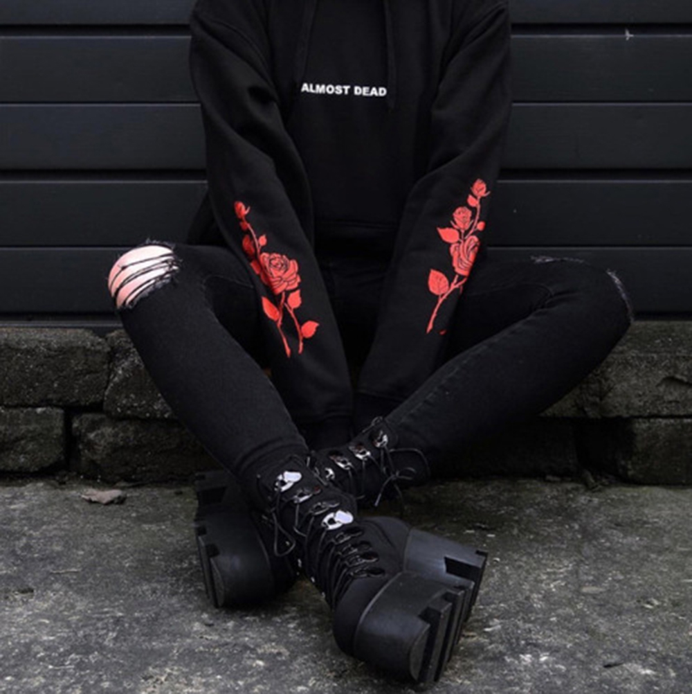 Hoodies Women Gothic Hoodies Sweatshirt Long Sleeve Pullover ALMOST DEAD Rose Sweatshirt Women Black Tumblr Hispter Hoodie Tops
