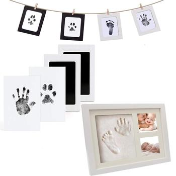 Safe Non-Toxic Baby Inkless Handprint Footprint Kit Hand and Foot Prints For 0-6 Months Newborn Gift Decoration image