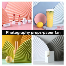 [Buy 4 Free 1]POCO INS 64*35CM 17 Color Folding Fan Photography Props Photo Background Gourmet Cosmetics Jewelry Style