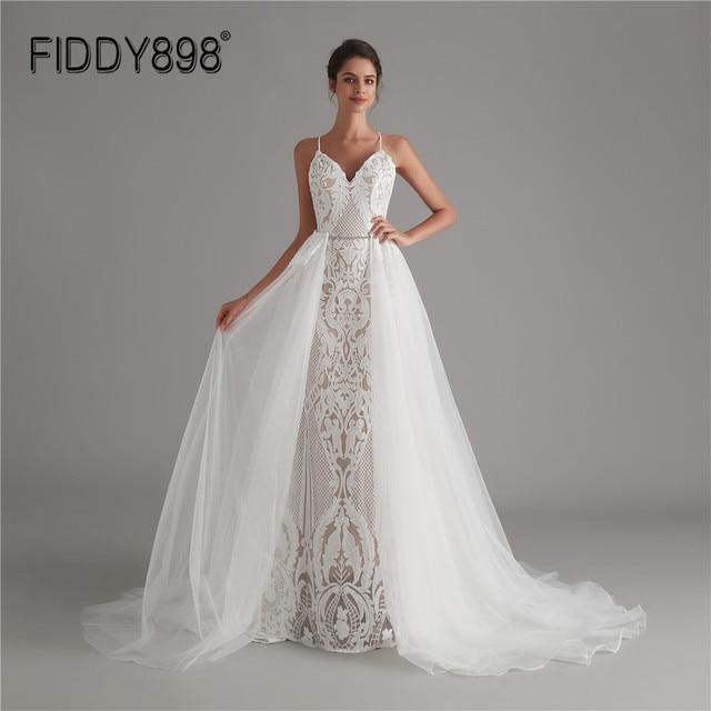 בציר תחרה חתונה שמלת 2020 נצנצים כלה שמלות vestido דה noiva בת ים שמלות כלה עם נתיק רכבת robe דה mariee