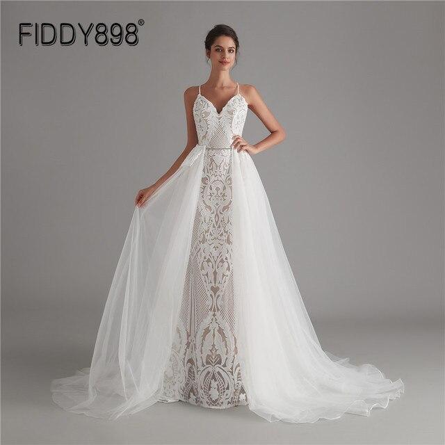 Koronka w stylu Vintage suknia ślubna 2020 olśniewająca suknie ślubne vestido de noiva Mermaid Bride suknie z odpinanym pociągiem robe de mariee