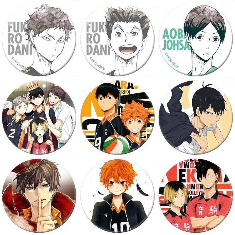 Backpack Clothes-Accessories Badge Haikyuu-Brooch Volleyball Cosplay Metal Anime Boy