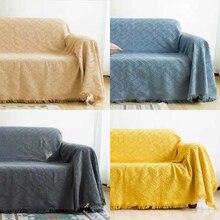 Manta de sofá tejida Bohemia con borlas, manta de hilo, alfombras para dormir, manta suave de cama a cuadros, tapiz decorativo Vintage para el hogar