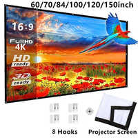 60/70/84/100/120 inch 16:9 Foldable Portable Projector Projection Screen Cloth Outdoor Home Projector Movies Screen