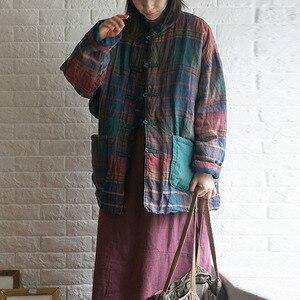 Image 2 - Новинка 2019, зимнее Модное теплое хлопковое плотное пальто в клетку с пряжкой, новое хлопковое льняное женское ретро пальто с длинным рукавом