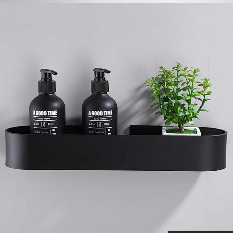 Noir salle de bain étagère 30/40/50 cm cuisine mur étagères douche panier étagère de rangement porte-serviettes Robe crochets salle de bain accessoires