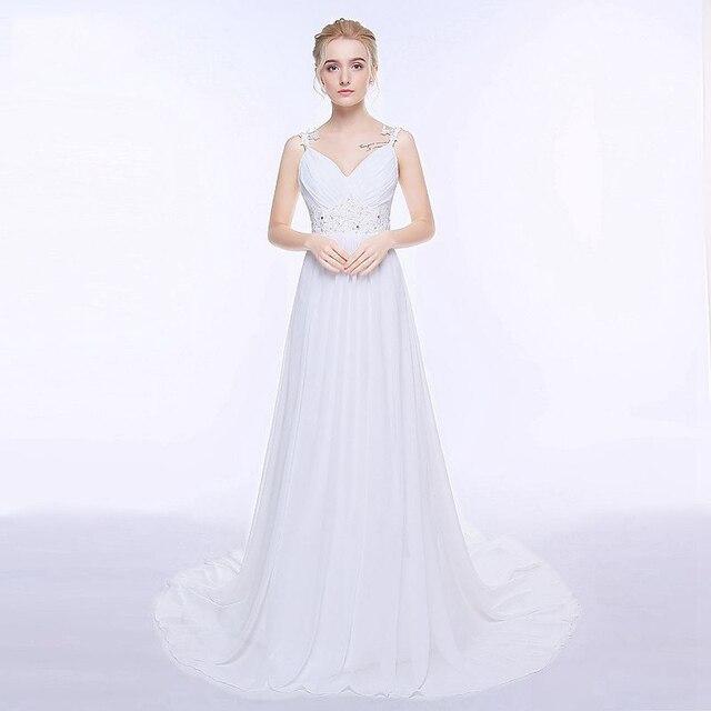 Jiayigong Beach Wedding Dress vestido de noiva In Stock Plus Size Spaghetti Straps Beading Chiffon Wedding Gowns Bridal Dresses 5