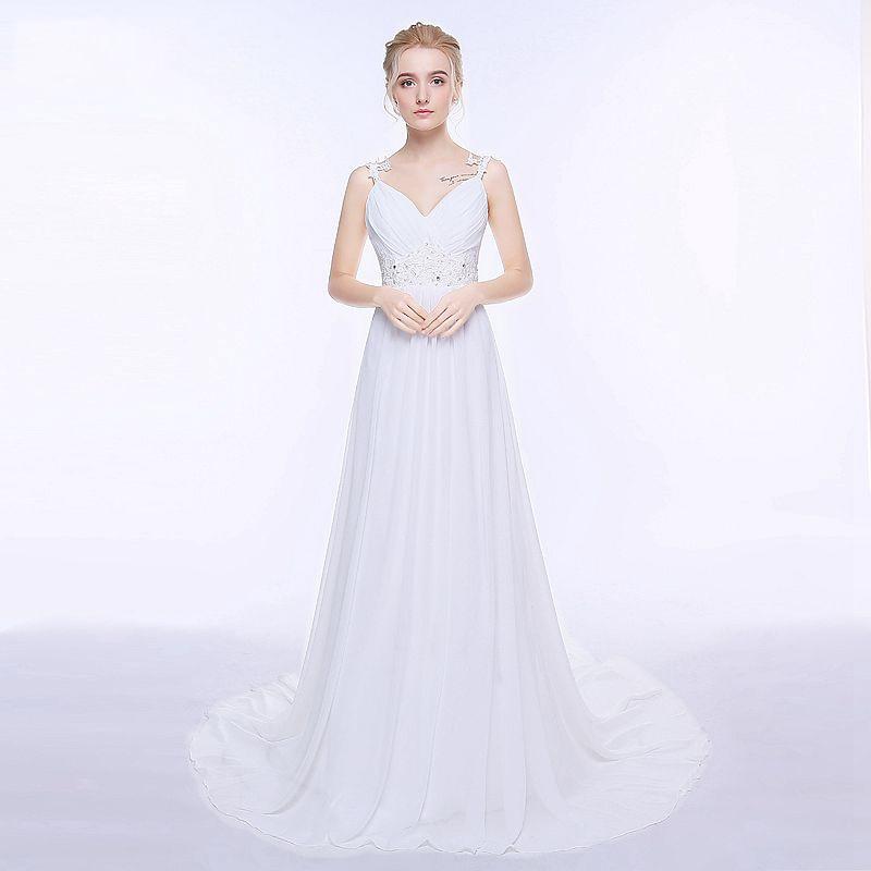 Weddings & Events ...  ... 32672834355 ... 5 ... Jiayigong Beach Wedding Dress vestido de noiva In Stock Plus Size Spaghetti Straps Beading Chiffon Wedding Gowns Bridal Dresses ...