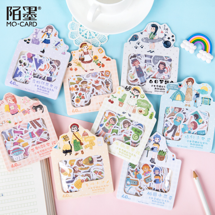 40pcs/1lot Kawaii Stationery Stickers Girl Wearing Diary Diary Decorative Mobile Stickers Scrapbooking DIY Craft Stickers