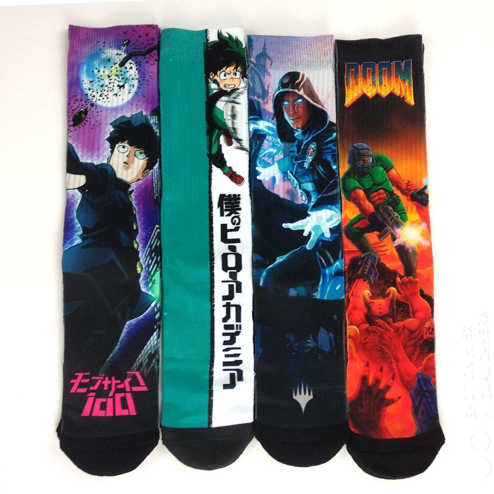 Funny Japan Anime Game Character Socks Men Novelty Hip Hop Street Style Unisex Stance Socks Skateboard Ninja Turtles Socks
